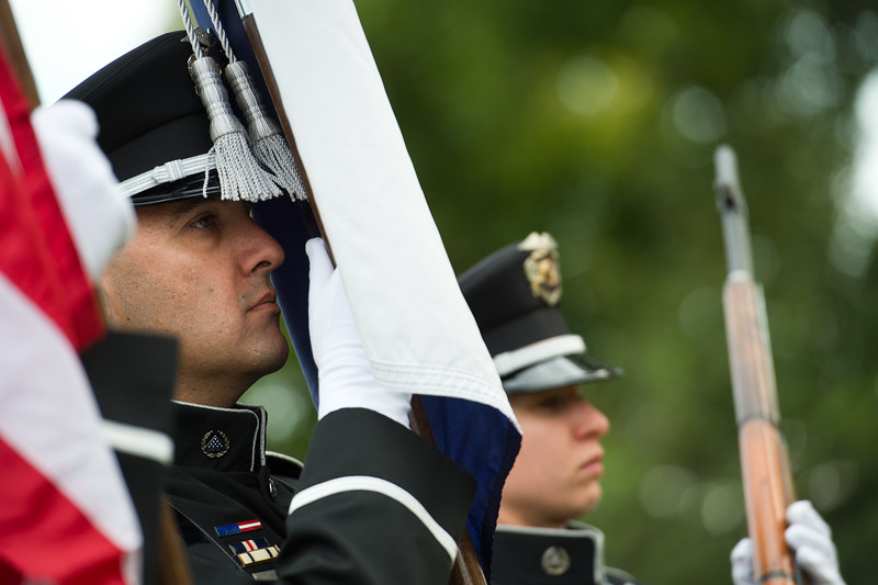 "The Broomfield Police Honor Guard lead the procession at the 9/11 Memorial during the annual ceremony on Sunday. <br /> More photos:  <a href=""http://www.dailycamera.com"">http://www.dailycamera.com</a><br /> (Autumn Parry/Staff Photographer)<br /> September 11, 2016"
