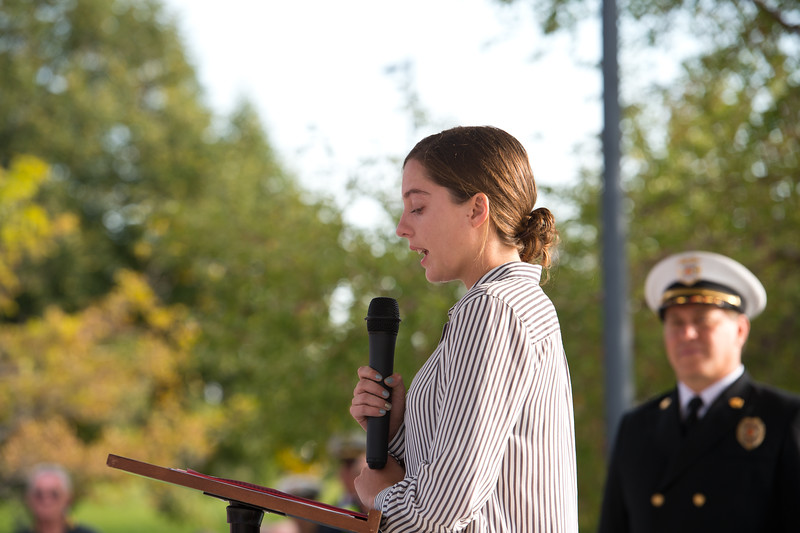 "Siena Faughnan gives a speech about her father, Chris Faughnan, who was among those killed in the terrorist attacks fifteen years ago, during a 9/11 memorial ceremony at the Broomfield Amphitheater on Sunday.<br /> More photos:  <a href=""http://www.dailycamera.com"">http://www.dailycamera.com</a><br /> (Autumn Parry/Staff Photographer)<br /> September 11, 2016"