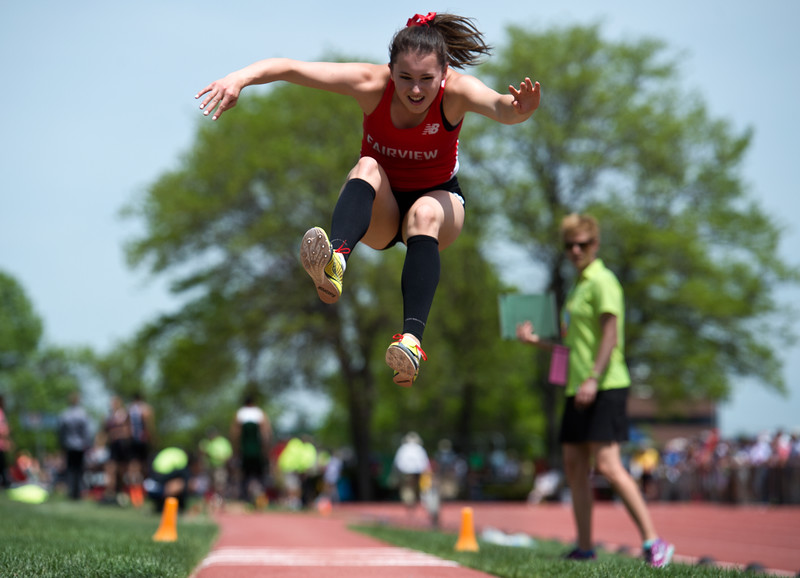 "Fairview High School's Sarah Hopkins competes in the girls 5A triple jump during the Track and Field State Championships at Jefferson County Stadium in Lakewood on Saturday.<br /> More photos:  <a href=""http://www.BoCoPreps.com"">http://www.BoCoPreps.com</a><br /> Autumn Parry/Staff Photographer<br /> May 21, 2016"