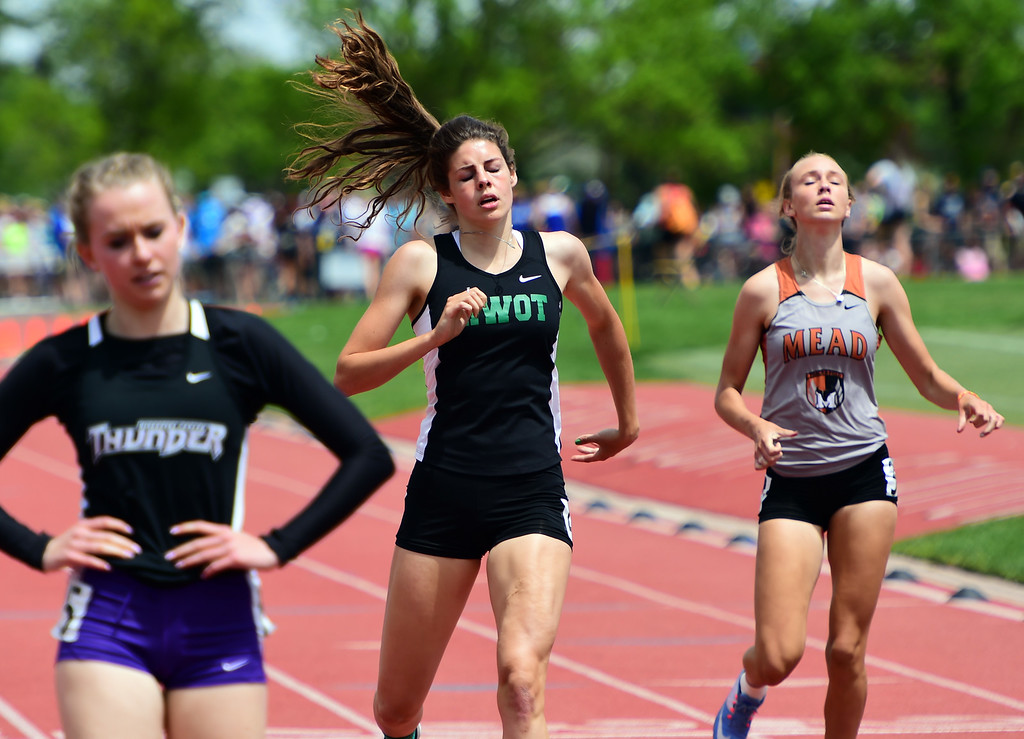 . MacKenzie Fidelak, of Niwot, finishes 4th in the 400 meters during the Colorado State Track and Field Championships on Saturday at Jeffco Stadium. For more photos, go to www.bocopreps.com. Cliff Grassmick  Staff Photographer  May 21, 2016