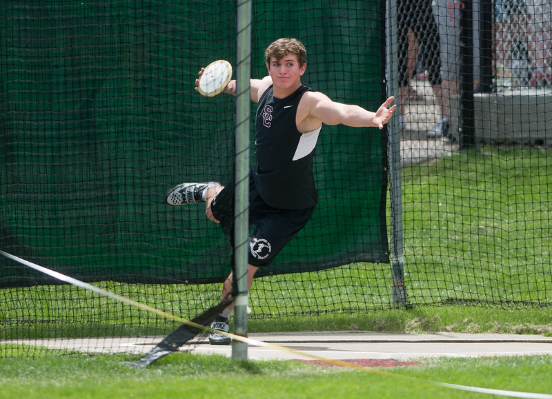 "Silver Creek High School's Brock Knechtel finished in fourth place in the boys 4A discus during the Track and Field State Championships at Jefferson County Stadium in Lakewood on Saturday.<br /> More photos:  <a href=""http://www.BoCoPreps.com"">http://www.BoCoPreps.com</a><br /> Autumn Parry/Staff Photographer<br /> May 21, 2016"