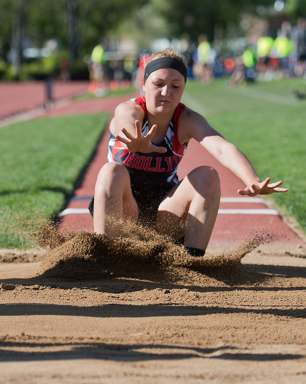 . Holly High School\'s Kallie Catchart competes in the girls 1A long jump during the Track and Field State Championships at Jefferson County Stadium in Lakewood on Saturday. More photos: www.BoCoPreps.com Autumn Parry/Staff Photographer May 21, 2016
