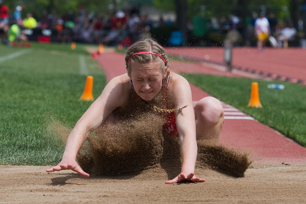 . Fairview High School\'s Carina Schmid competes in the girls 5A triple jump during the Track and Field State Championships at Jefferson County Stadium in Lakewood on Saturday. More photos: www.BoCoPreps.com Autumn Parry/Staff Photographer May 21, 2016