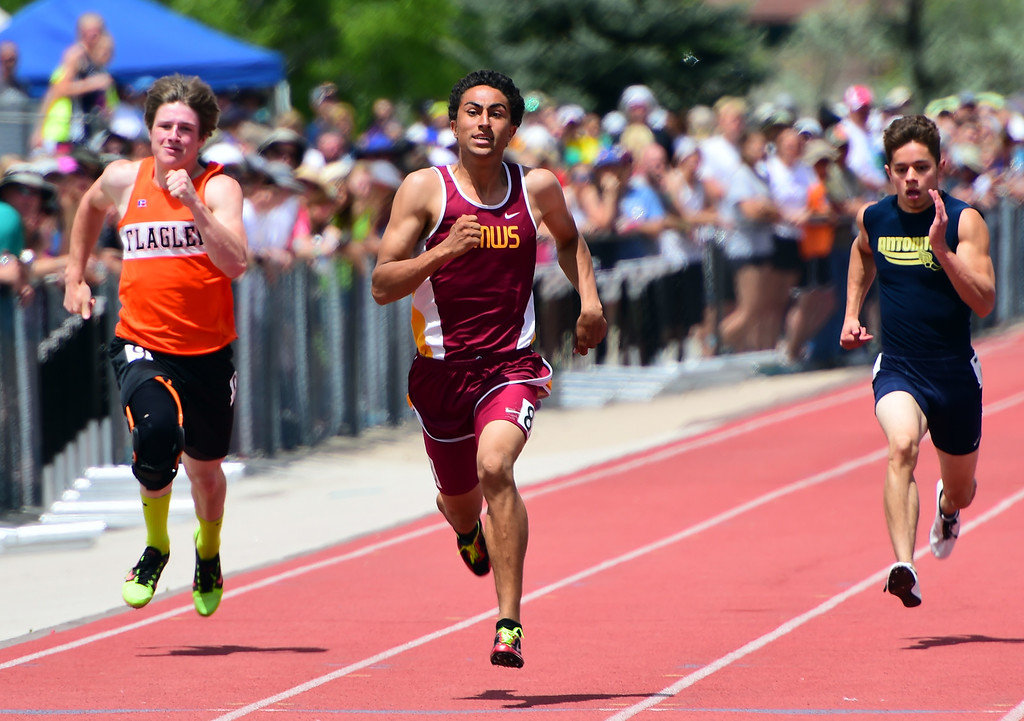 . Jordan Cherin, of Shining Mountain, wins  the 200 meters at the Colorado State Track and Field Championships on Saturday at Jeffco Stadium. For more photos, go to www.bocopreps.com. Cliff Grassmick  Staff Photographer  May 21, 2016
