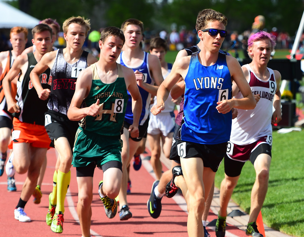 . Joel Such, of Lyons, runs in the 1600 meters during the Colorado State Track and Field Championships on Saturday at Jeffco Stadium. For more photos, go to www.bocopreps.com. Cliff Grassmick  Staff Photographer  May 21, 2016