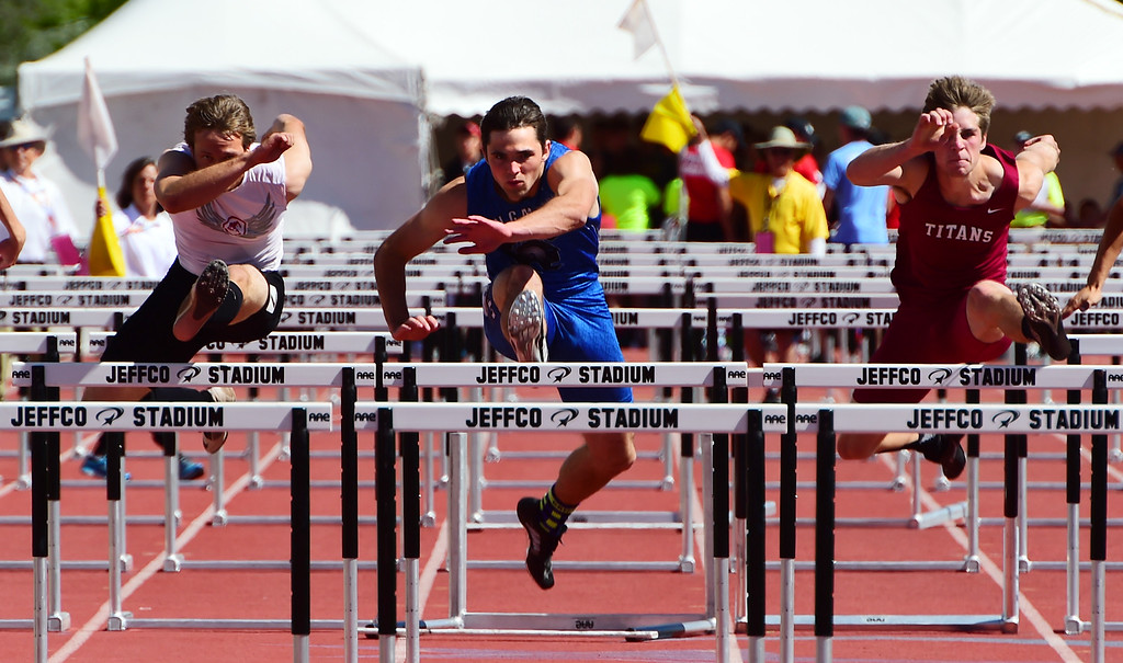 . Eli Sullivan, of Longmont, was third in the 110 meter hurdles during the Colorado State Track and Field Championships on Saturday at Jeffco Stadium. For more photos, go to www.bocopreps.com. Cliff Grassmick  Staff Photographer  May 21, 2016