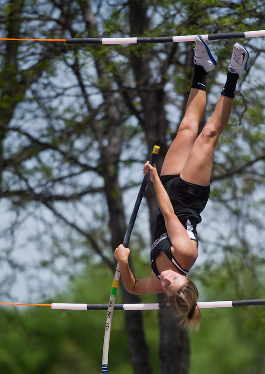 . Berthoud High School\'s Josie Spitz finished in third place in the girls 4A pole vault during the Track and Field State Championships at Jefferson County Stadium in Lakewood on Saturday. More photos: www.BoCoPreps.com Autumn Parry/Staff Photographer May 21, 2016