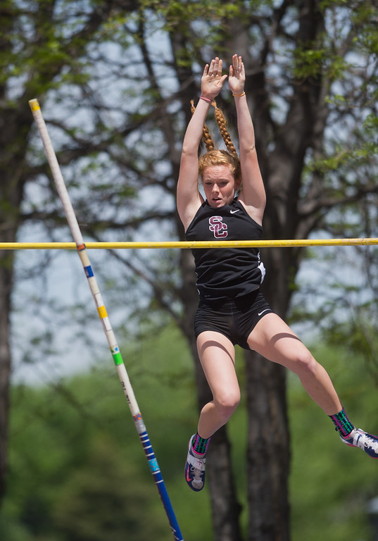 . Silver Creek High School\'s Abigail Gray competes in the girls 4A pole vault during the Track and Field State Championships at Jefferson County Stadium in Lakewood on Saturday. More photos: www.BoCoPreps.com Autumn Parry/Staff Photographer May 21, 2016