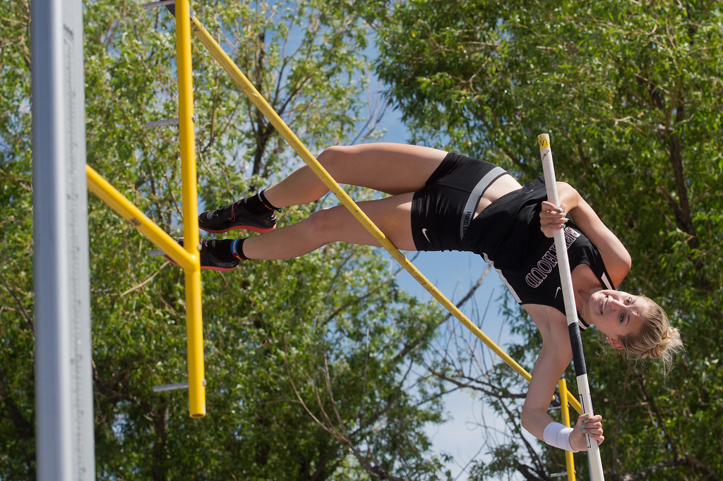 . Berthoud High School\'s Kelly Chamberlain competes in the girls 4A pole vault during the Track and Field State Championships at Jefferson County Stadium in Lakewood on Saturday. More photos: www.BoCoPreps.com Autumn Parry/Staff Photographer May 21, 2016