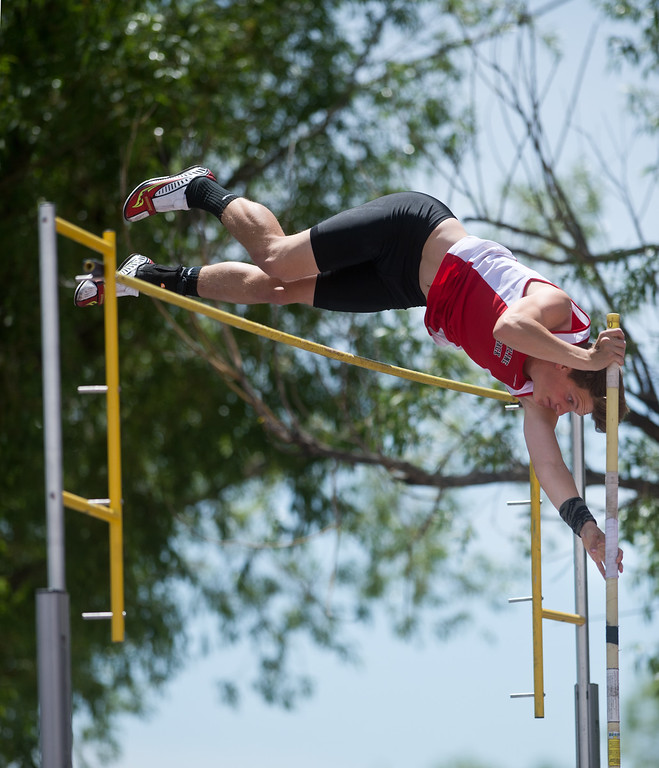 . Skyline High School\'s Aaron Carmichael competes in the boys 4A pole vault during the Track and Field State Championships at Jefferson County Stadium in Lakewood on Saturday. More photos: www.BoCoPreps.com Autumn Parry/Staff Photographer May 21, 2016