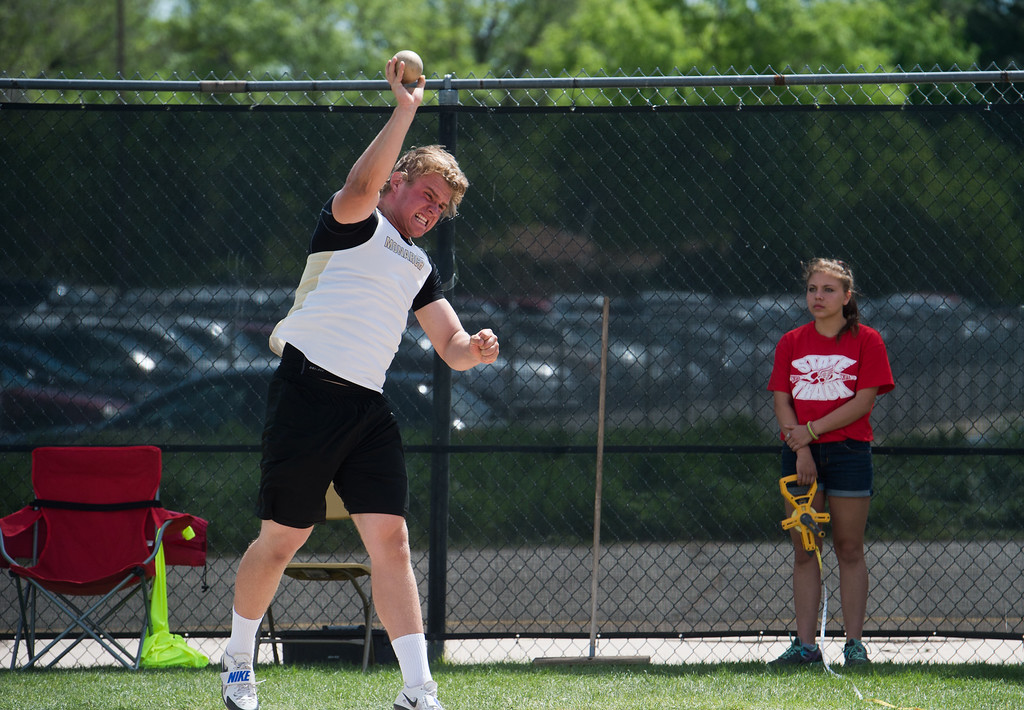 . Monarch High School\'s Nico Heineke Magri competes in the boys 5A shot put during the Track and Field State Championships at Jefferson County Stadium in Lakewood on Saturday. More photos: www.BoCoPreps.com Autumn Parry/Staff Photographer May 21, 2016
