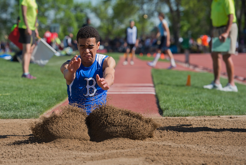 "Broomfield High School's Bryce Williams competes in the boys 5A triple jump during the Track and Field State Championships at Jefferson County Stadium in Lakewood on Saturday.<br /> More photos:  <a href=""http://www.BoCoPreps.com"">http://www.BoCoPreps.com</a><br /> Autumn Parry/Staff Photographer<br /> May 21, 2016"