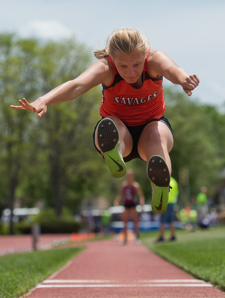 "Lamar High School's Aleah Eddy competes in the girls 3A long jump during the Track and Field State Championships at Jefferson County Stadium in Lakewood on Saturday.<br /> More photos:  <a href=""http://www.BoCoPreps.com"">http://www.BoCoPreps.com</a><br /> Autumn Parry/Staff Photographer<br /> May 21, 2016"
