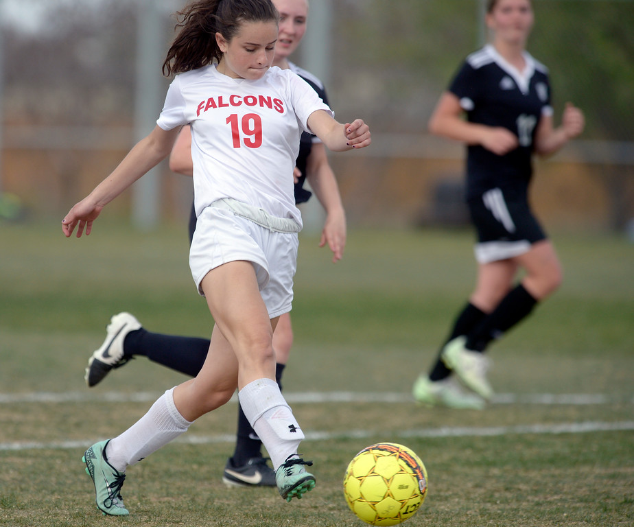 . Skyline\'s Petra Gilbert scores against Berthoud in the first half Monday at Skyline High School. To view more photos visit bocopreps.com. Lewis Geyer/Staff Photographer April 17, 2017