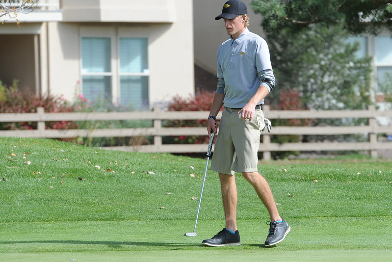 Thompson Valley's Nate Dwyer reads the 15th green during the second and final round of the 4A Boys State Golf Championship on Tuesday at Raccoon Creek in Littleton.