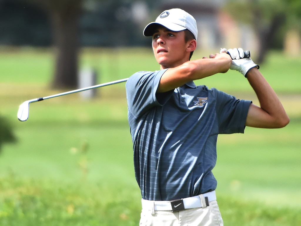 . Frederick\'s Nick Formby watches a tee shot on No. 18 during the 4A Region 3 tournament on Wednesday at the Olde Course in Loveland.