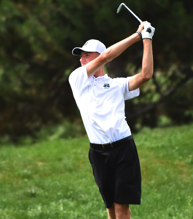 . Niwot\'s Jack Hoover tees off on No. 18 during the 4A Region 3 tournament on Wednesday at the Olde Course in Loveland.
