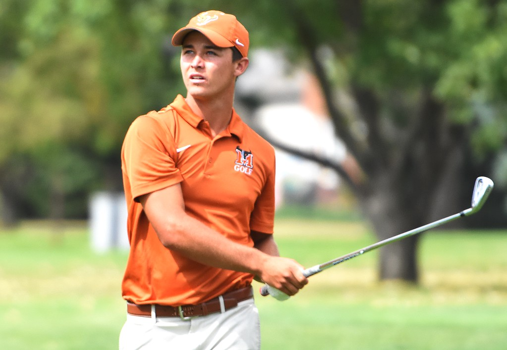 . Mead\'s Kellen Kudrna watches a tee shot on No. 17 during the 4A Region 3 tournament on Wednesday at the Olde Course in Loveland.