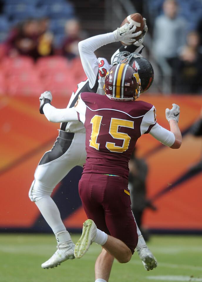 Kaden Morin (22), Loveland safety, intercepts the ball against Windsor on Saturday, Dec. 6, 2015 in Denver. (Photo by Trevor L. Davis/Loveland Reporter-Herald)
