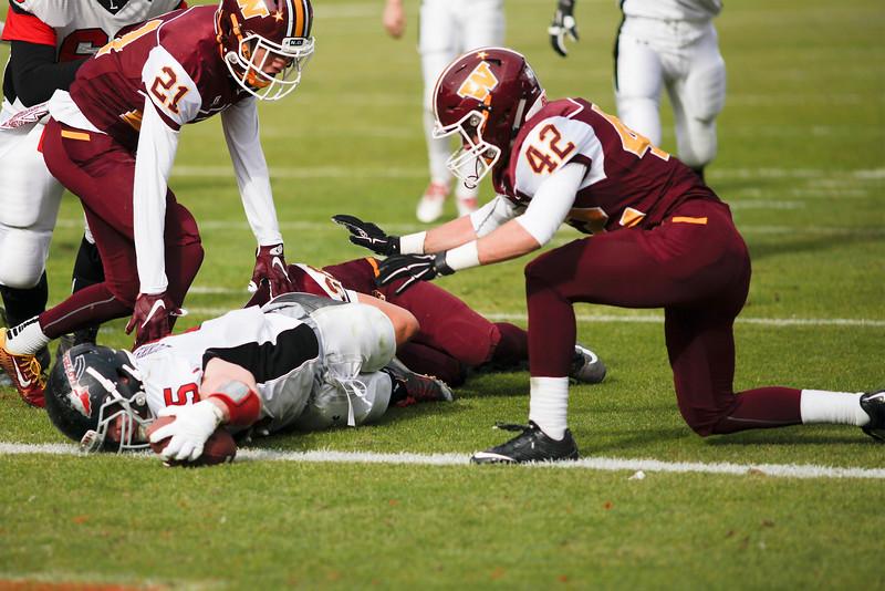 Charles Dunkelman (5), Loveland running back, reaches across the goal line to score a touchdown in the first quarter against Windsor on Saturday, Dec. 5, 2015, in Denver. (Photo by Trevor L. Davis/Loveland Reporter-Herald)