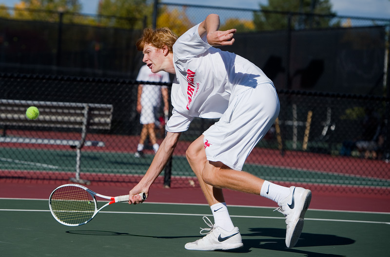"""Fairview's Tom Melville makes a return during a singles match against Kai Smith, from Denver East, during the 5A boys tennis tournament at the Gates Tennis Center in Denver on Saturday. <br /> More photos:  <a href=""""http://www.BoCoPreps.com"""">http://www.BoCoPreps.com</a><br /> (Autumn Parry/Staff Photographer)<br /> October 15, 2016"""