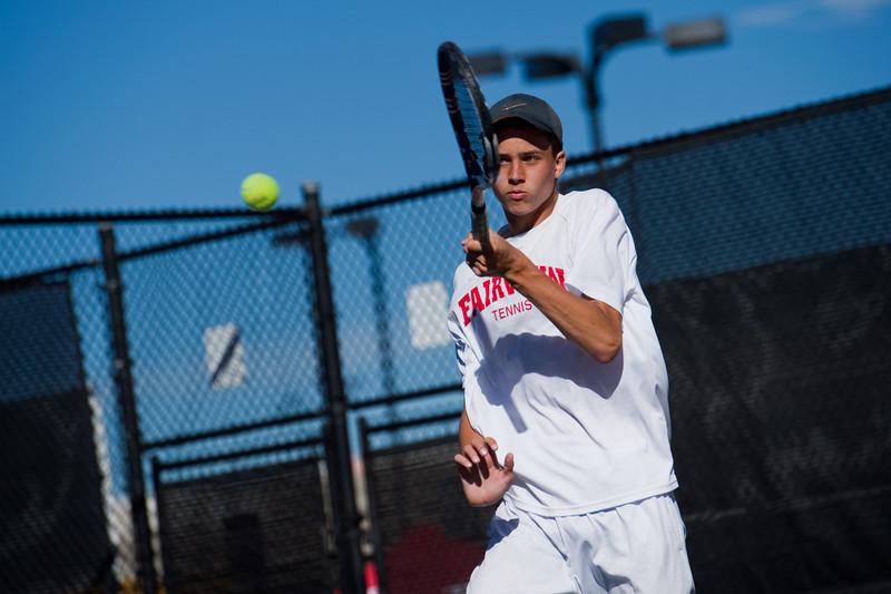 """Fairview's Ethan Schacht makes a return while playing a singles match against Heritage's Jack Alexander, during the 5A boys tennis tournament at the Gates Tennis Center in Denver on Saturday. <br /> More photos:  <a href=""""http://www.BoCoPreps.com"""">http://www.BoCoPreps.com</a><br /> (Autumn Parry/Staff Photographer)<br /> October 15, 2016"""
