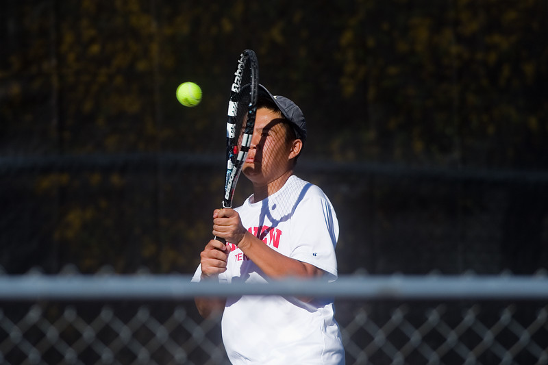 "Fairview's Aaron Nguyen  makes a return while playing a doubles match with Hall Humphrey against Denver East, during the 5A boys tennis tournament at the Gates Tennis Center in Denver on Saturday. <br /> More photos:  <a href=""http://www.BoCoPreps.com"">http://www.BoCoPreps.com</a><br /> (Autumn Parry/Staff Photographer)<br /> October 15, 2016"