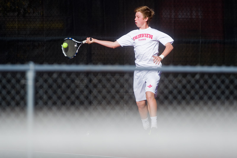 "Hall Humphrey makes a return while playing a doubles match with Aaron Nguyen against Denver East, during the 5A boys tennis tournament at the Gates Tennis Center in Denver on Saturday. <br /> More photos:  <a href=""http://www.BoCoPreps.com"">http://www.BoCoPreps.com</a><br /> (Autumn Parry/Staff Photographer)<br /> October 15, 2016"