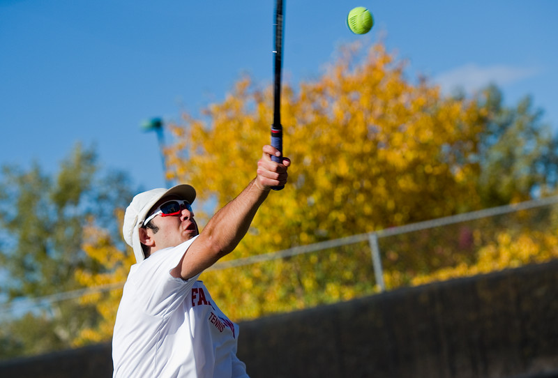 """Fairview's Adam Chehadi makes a return while playing in a doubles match with Brooks Savage against Fossil Ridge, during the 5A boys tennis tournament at the Gates Tennis Center in Denver on Saturday. <br /> More photos:  <a href=""""http://www.BoCoPreps.com"""">http://www.BoCoPreps.com</a><br /> (Autumn Parry/Staff Photographer)<br /> October 15, 2016"""