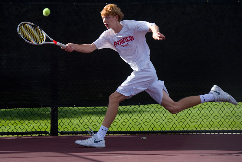"Fairview's Tom Melville  makes a return while playing a singles match against Kai Smith, from Denver East, during the 5A boys tennis tournament at the Gates Tennis Center in Denver on Saturday. <br /> More photos:  <a href=""http://www.BoCoPreps.com"">http://www.BoCoPreps.com</a><br /> (Autumn Parry/Staff Photographer)<br /> October 15, 2016"