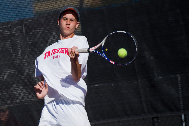 "Fairview's Ethan Schacht makes a return while playing a singles match against Heritage's Jack Alexander, during the 5A boys tennis tournament at the Gates Tennis Center in Denver on Saturday. <br /> More photos:  <a href=""http://www.BoCoPreps.com"">http://www.BoCoPreps.com</a><br /> (Autumn Parry/Staff Photographer)<br /> October 15, 2016"