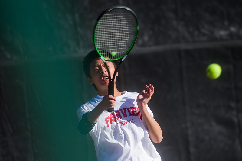 """Fairview's Andy Wu makes a return while playing a doubles match with Beck Chrisbens against Cherry Creek, during the 5A boys tennis tournament at the Gates Tennis Center in Denver on Saturday. <br /> More photos:  <a href=""""http://www.BoCoPreps.com"""">http://www.BoCoPreps.com</a><br /> (Autumn Parry/Staff Photographer)<br /> October 15, 2016"""