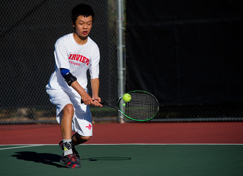 "Fairview's Andy Wu makes a return while playing a doubles match with Beck Chrisbens against Cherry Creek, during the 5A boys tennis tournament at the Gates Tennis Center in Denver on Saturday. <br /> More photos:  <a href=""http://www.BoCoPreps.com"">http://www.BoCoPreps.com</a><br /> (Autumn Parry/Staff Photographer)<br /> October 15, 2016"