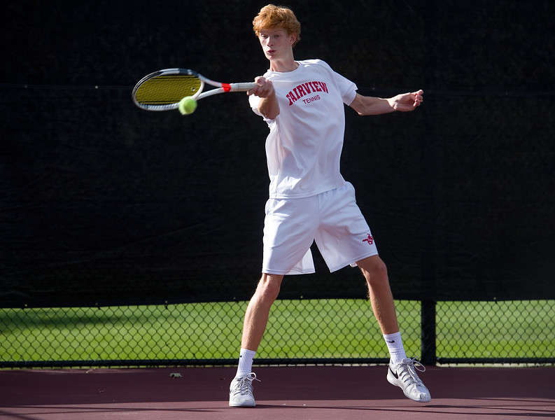 """Fairview's Tom Melville  makes a return while playing a singles match against Kai Smith, from Denver East, during the 5A boys tennis tournament at the Gates Tennis Center in Denver on Saturday. <br /> More photos:  <a href=""""http://www.BoCoPreps.com"""">http://www.BoCoPreps.com</a><br /> (Autumn Parry/Staff Photographer)<br /> October 15, 2016"""