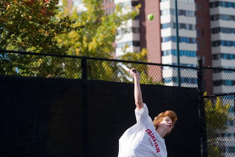 """Fairview's Tom Melville  serves the ball while playing a singles match against Kai Smith, from Denver East, during the 5A boys tennis tournament at the Gates Tennis Center in Denver on Saturday. <br /> More photos:  <a href=""""http://www.BoCoPreps.com"""">http://www.BoCoPreps.com</a><br /> (Autumn Parry/Staff Photographer)<br /> October 15, 2016"""