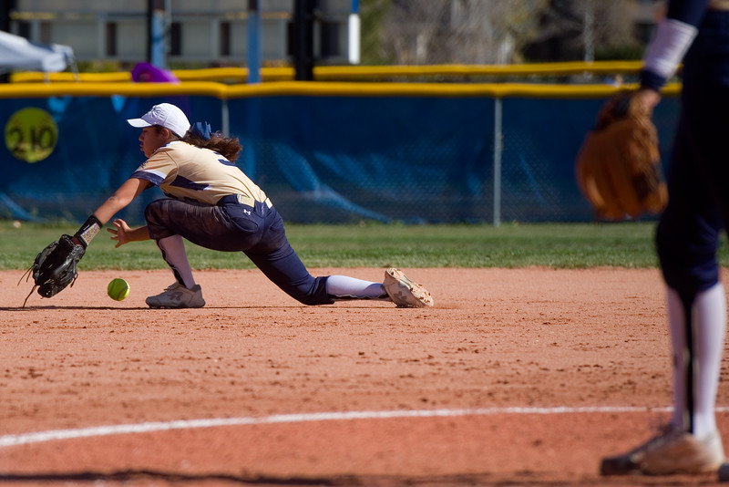 "Legacy's Legacy's Mo Hernandez-Belew misses a catch in the infield during the 5A region 1 softball tournament at Broomfield High School on Saturday.<br /> More photos:  <a href=""http://www.BoCoPreps.com"">http://www.BoCoPreps.com</a><br /> (Autumn Parry/Staff Photographer)<br /> October 15, 2016"