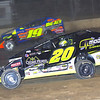 """Mod action Brett Hearn #20 & Jessey Mueller #19 at Albany-Saratoga Speedway, Friday, July 6. Photos courtesy Kustom Keepsakes - Mark Brown and Ryan Karabin. For reprints and more visit <a href=""""https://nepart.smugmug.com"""">https://nepart.smugmug.com</a>"""