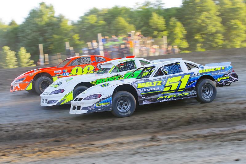 "Pro stock action Jason Meltz #51, Jay Corbin #8 &Darrell Older #98 at Albany-Saratoga Speedway, Friday, July 6. Photos courtesy Kustom Keepsakes - Mark Brown and Ryan Karabin. For reprints and more visit <a href=""https://nepart.smugmug.com"">https://nepart.smugmug.com</a>"