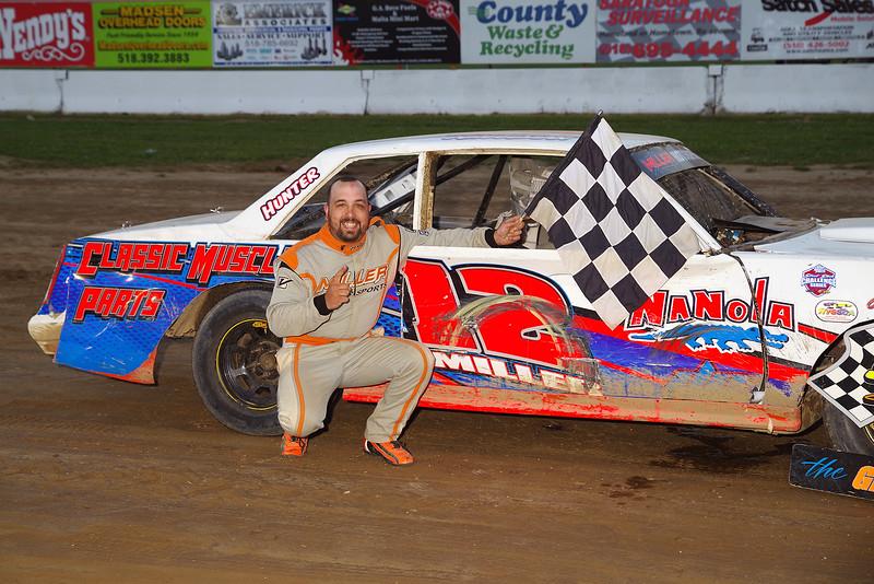 "Street stock winner Randy Miller #12 at Albany-Saratoga Speedway, Friday, July 6. Photos courtesy Kustom Keepsakes - Mark Brown and Ryan Karabin. For reprints and more visit <a href=""https://nepart.smugmug.com"">https://nepart.smugmug.com</a>"