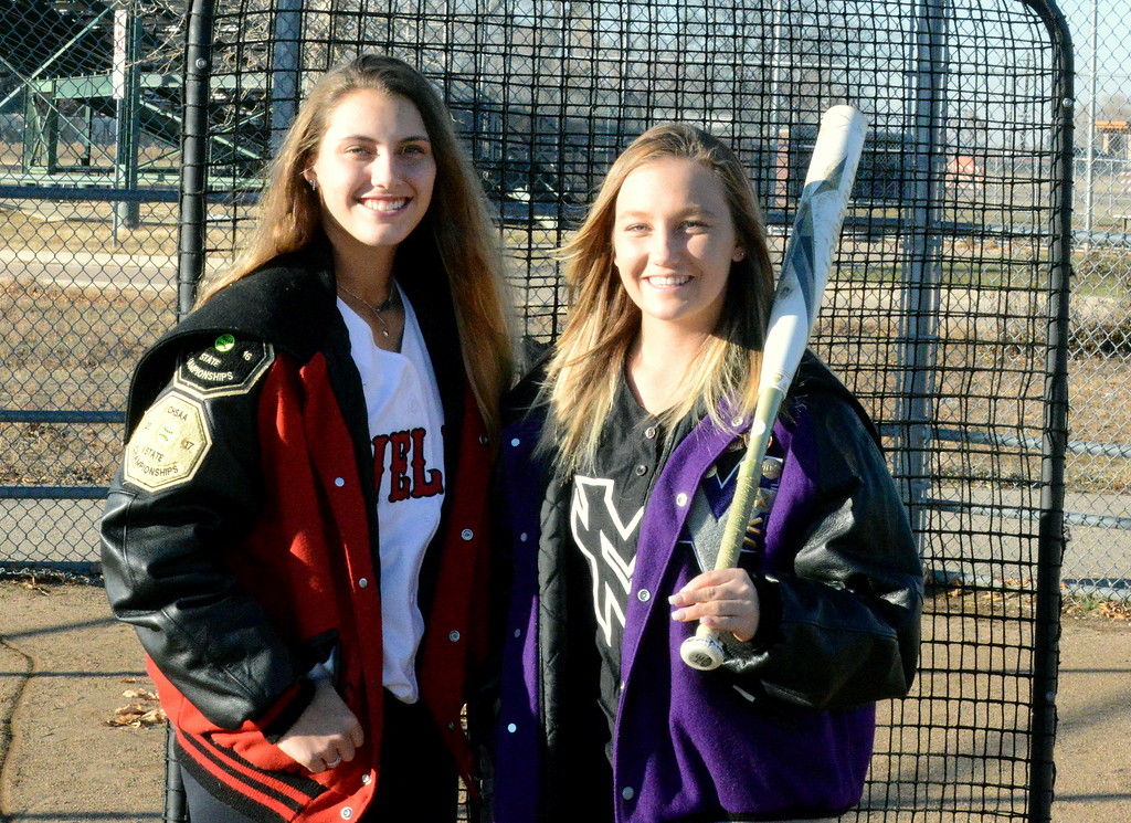 . Loveland\'s Laurin Krings (left) and Mountain View\'s Kamryn Leoffler lead the selections for the 2018 All-Area softball team as the pitcher and player of the year, respectively. (Mike Brohard/Loveland Reporter-Herald)