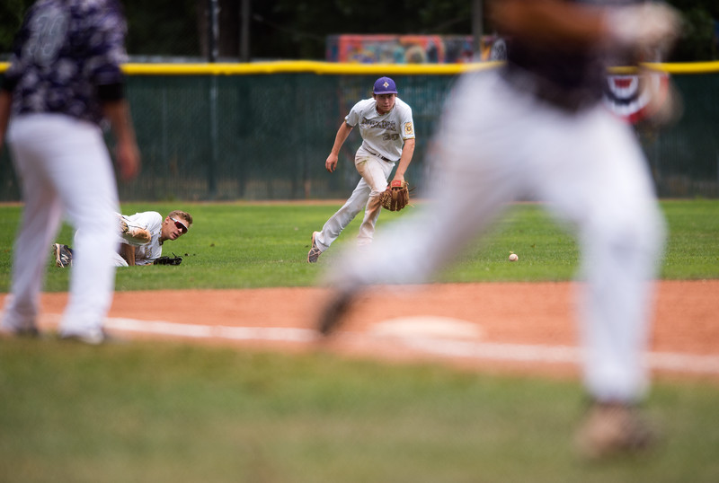"Boulder's Ben Davis chases after a ball in the infield during the game against Albuquerque's Post 13 at the American Legion Western Regional Tournament at Scott Carpenter Park in Boulder on Friday.<br /> More photos:  <a href=""http://www.BoCoPreps.com"">http://www.BoCoPreps.com</a><br /> (Autumn Parry/Staff Photographer)<br /> August 5, 2016"