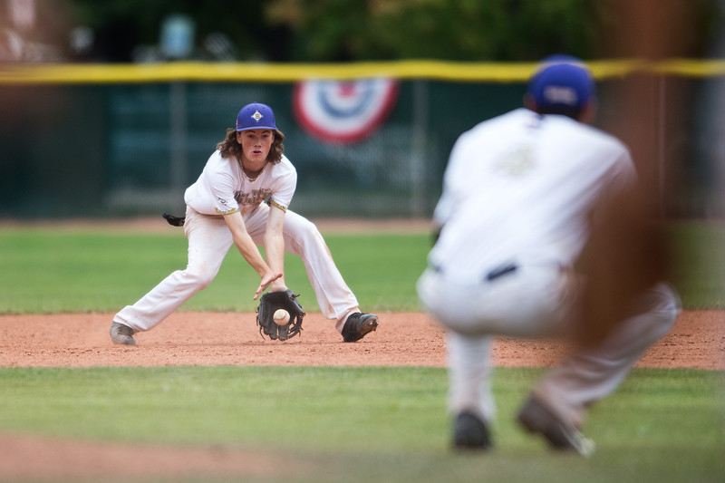 """Boulder's Cooper Moore catches a ball in the infield during the game against Albuquerque's Post 13 at the American Legion Western Regional Tournament at Scott Carpenter Park in Boulder on Friday.<br /> More photos:  <a href=""""http://www.BoCoPreps.com"""">http://www.BoCoPreps.com</a><br /> (Autumn Parry/Staff Photographer)<br /> August 5, 2016"""