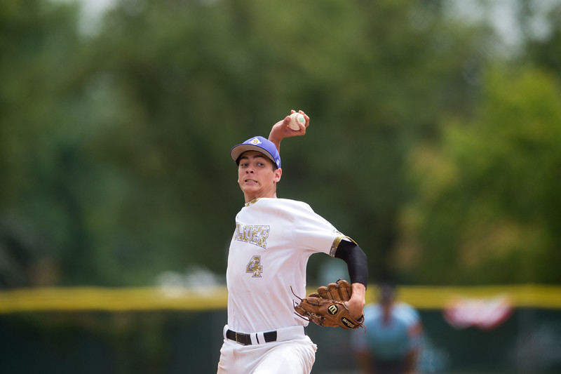 """Boulder's Isaac Parks pitches to Albuquerque's Post 13 during the American Legion Western Regional Tournament at Scott Carpenter Park in Boulder on Friday.<br /> More photos:  <a href=""""http://www.BoCoPreps.com"""">http://www.BoCoPreps.com</a><br /> (Autumn Parry/Staff Photographer)<br /> August 5, 2016"""