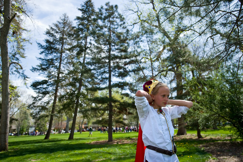 "Mia Dumler, from Niwot Elementary, adjusts her hat while waiting to act as Antonio in the play ""Much Ado About Nothing"" during St. Vrain Valley fifth graders' annual Shakespeare Festival at Thompson Park in Longmont on Friday. <br /> More photos:  <a href=""http://www.dailycamera.com"">http://www.dailycamera.com</a><br /> Autumn Parry/Staff Photographer<br /> May 6, 2016"
