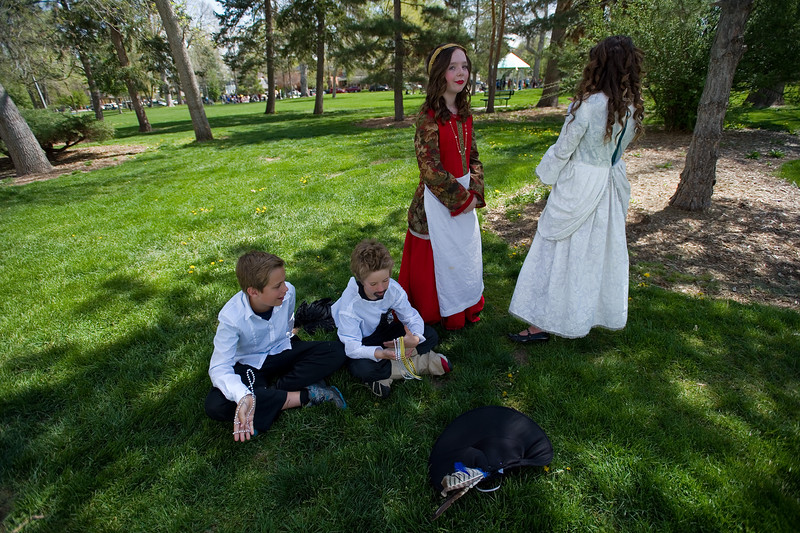 "Students from Niwot Elementary wait for their cue backstage during the performance of the play, ""Much Ado About Nothing,"" at St. Vrain Valley fifth graders' annual Shakespeare Festival at Thompson Park in Longmont on Friday. <br /> More photos:  <a href=""http://www.dailycamera.com"">http://www.dailycamera.com</a><br /> Autumn Parry/Staff Photographer<br /> May 6, 2016"