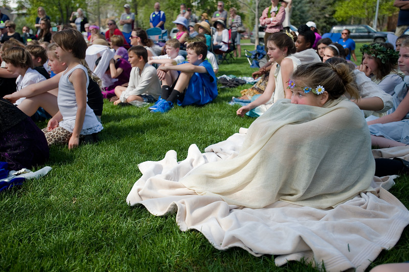 "Visitors watch fifth graders from Central Elementary perform the play, ""Hamlet,"" during St. Vrain Valley fifth graders' annual Shakespeare Festival at Thompson Park in Longmont on Friday. <br /> More photos:  <a href=""http://www.dailycamera.com"">http://www.dailycamera.com</a><br /> Autumn Parry/Staff Photographer<br /> May 6, 2016"
