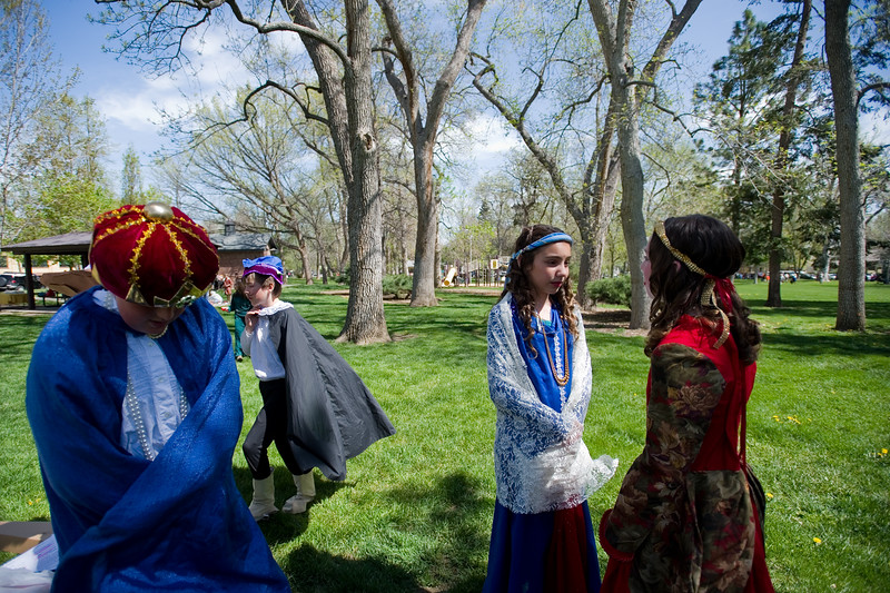 "Hannah Geiling (left) talks with Molly Stokes (right) back stage before the students of Niwot Elementary perform the play ""Much Ado About Nothing,"" during St. Vrain Valley fifth graders' annual Shakespeare Festival at Thompson Park in Longmont on Friday. <br /> More photos:  <a href=""http://www.dailycamera.com"">http://www.dailycamera.com</a><br /> Autumn Parry/Staff Photographer<br /> May 6, 2016"