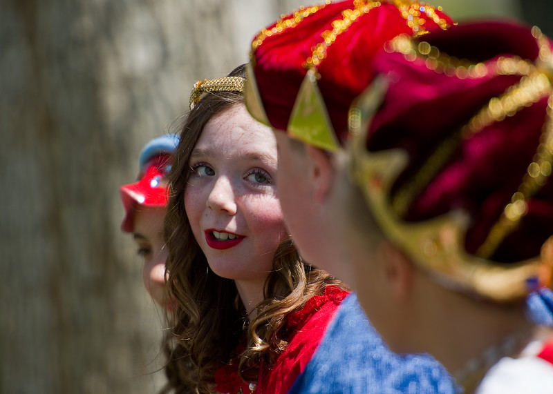 "Molly Stokes plays Beatrice in the play ""Much Ado About Nothing,"" performed by students from Niwot Elementary during St. Vrain Valley fifth graders' annual Shakespeare Festival at Thompson Park in Longmont on Friday. <br /> More photos:  <a href=""http://www.dailycamera.com"">http://www.dailycamera.com</a><br /> Autumn Parry/Staff Photographer<br /> May 6, 2016"