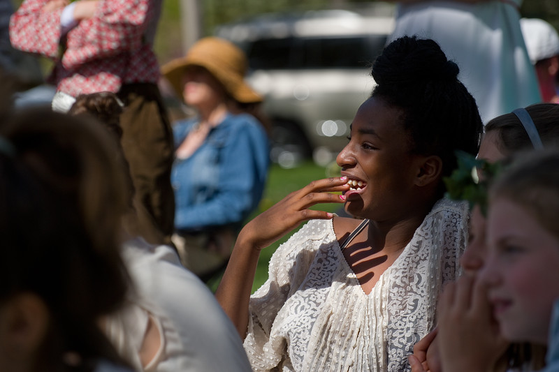 "An audience member reacts to the play, ""Hamlet"" performed by fifth graders at Central Elementary during St. Vrain Valley fifth graders' annual Shakespeare Festival at Thompson Park in Longmont on Friday. <br /> More photos:  <a href=""http://www.dailycamera.com"">http://www.dailycamera.com</a><br /> Autumn Parry/Staff Photographer<br /> May 6, 2016"