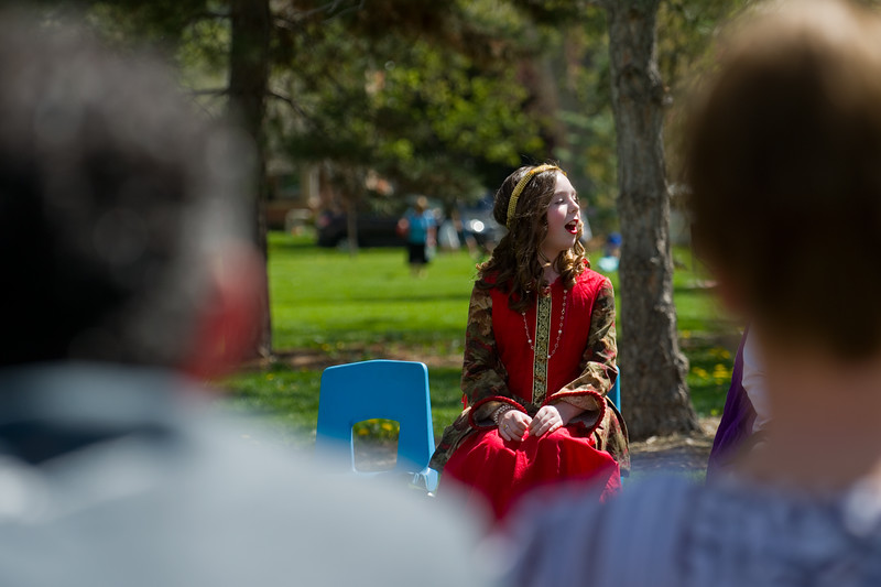 "Molly Stokes plays Beatrice in the play ""Much Ado About Nothing"" performed by Niwot Elementary students during St. Vrain Valley fifth graders' annual Shakespeare Festival at Thompson Park in Longmont on Friday. <br /> More photos:  <a href=""http://www.dailycamera.com"">http://www.dailycamera.com</a><br /> Autumn Parry/Staff Photographer<br /> May 6, 2016"